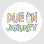Due In January Round Sticker