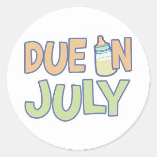 Due In July Classic Round Sticker