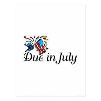 Due In July (Flag) Postcard