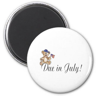 Due In July (Teddy) 2 Inch Round Magnet