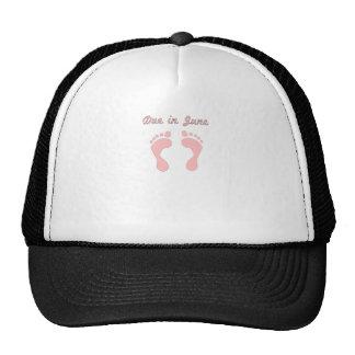 DUE IN JUNE PINK BABY FEET.png Trucker Hats