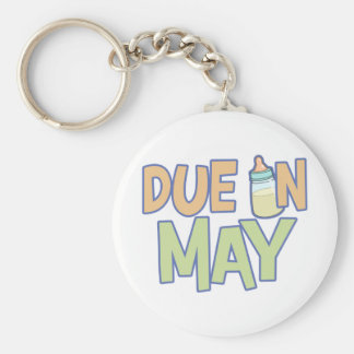 Due In May Basic Round Button Keychain