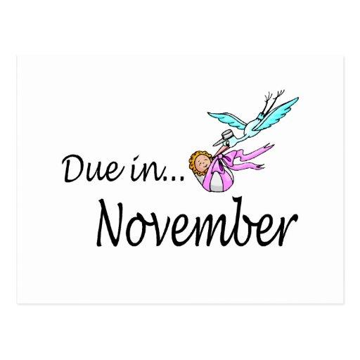 Due In November (Baby/Stork) Post Cards