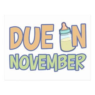 Due In November Postcard