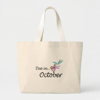 Due In October (Baby/Stork) Large Tote Bag