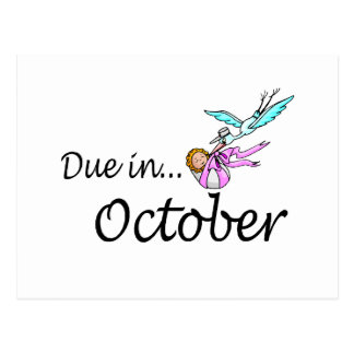 Due In October (Baby/Stork) Postcards