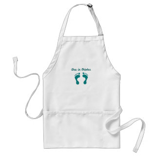 DUE IN October BLUE BABY FEET.png Adult Apron