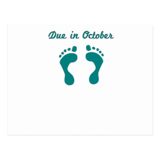 DUE IN October BLUE BABY FEET.png Post Card