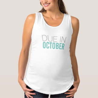 Due in October Gray and Aqua Maternity Tank Top