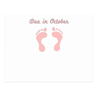 DUE IN October PINK BABY FEET.png Postcards