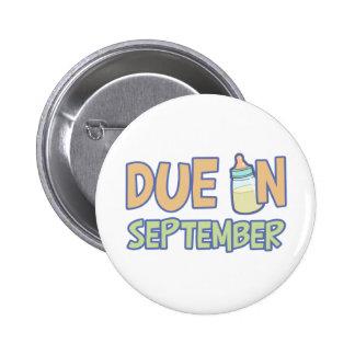 Due In September 2 Inch Round Button