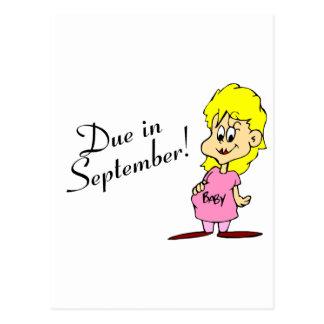 Due In September (Pregnant Mom) Postcard