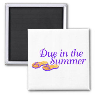 Due In Summer (Purple) 2 Inch Square Magnet