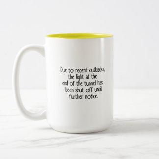 Due to recent cutbacks Two-Tone coffee mug