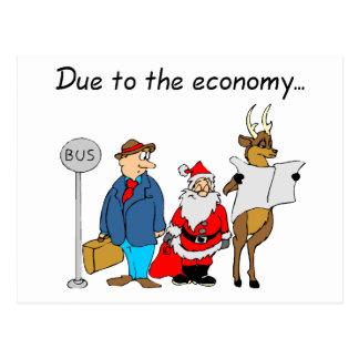 Due To The Economy Santa Postcard