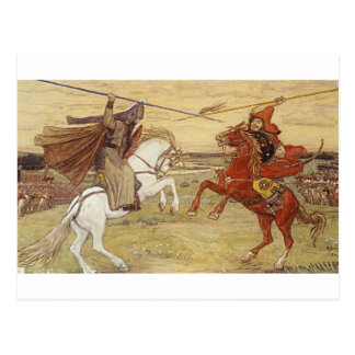 Duel Peresvet with Chelubey by Viktor Vasnetsov Postcard