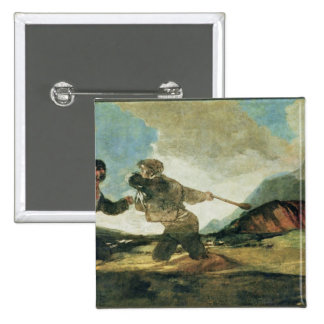 Duel with Clubs 2 Inch Square Button