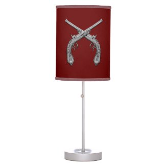 Dueling Antique Guns Maroon Desk Lamp