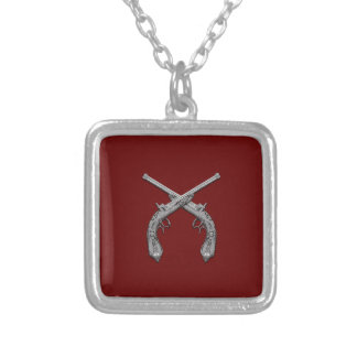Dueling Antique Guns Maroon Silver Plated Necklace