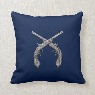 Dueling Antique Guns Navy Throw Pillows