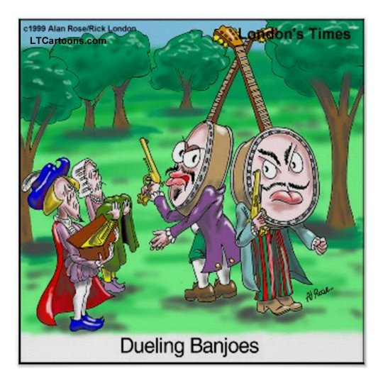 Dueling Banjoes Funny Cartoon Poster by Rick Londo