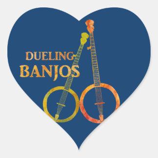 Dueling Banjos Heart Sticker