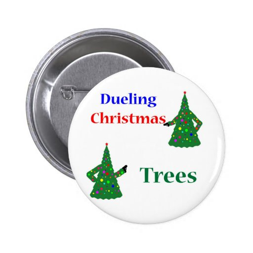 Dueling Christmas Trees Pinback Button