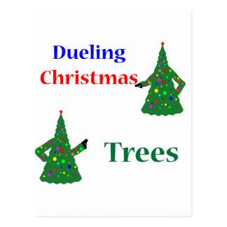 Dueling Christmas Trees Postcard
