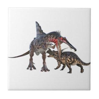 Dueling Dinosaurs Ceramic Tile