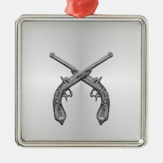 Dueling Pistols Silver Metal Ornament