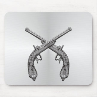 Dueling Pistols Silver Mouse Pad