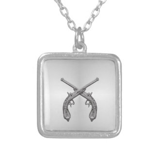 Dueling Pistols Silver Silver Plated Necklace