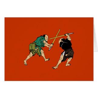 Dueling Samurai Greeting Card