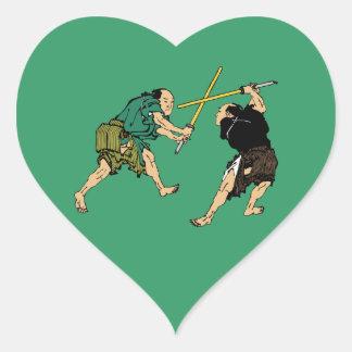 Dueling Samurai Heart Sticker