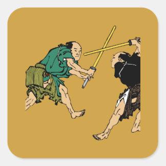 Dueling Samurai Square Sticker