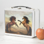 """Dueling Stallions Painting Metal Lunch Box<br><div class=""""desc"""">Add some color and excitement to lunchtime with this amazing and beautiful design! Perfect gift for an equine lover/owner!</div>"""