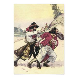 Duelo del pirata del vintage, muerte de la lucha invitaciones personalizada