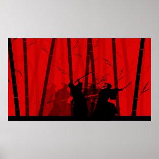 Duelo en el bambú rojo - batalla del samurai poster