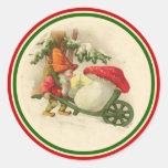 Duende 1910 del navidad del vintage etiquetas redondas