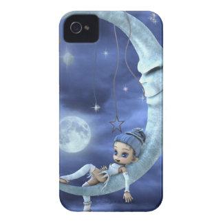 duende azul en la luna iPhone 4 Case-Mate cobertura