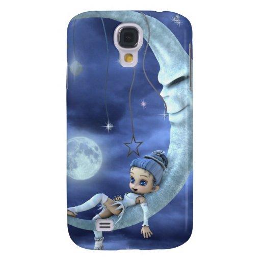 duende azul en la luna funda para galaxy s4