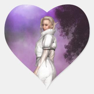Duende blanco pegatina en forma de corazón