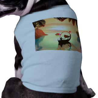 Duende con el barco hermoso de la lámpara ropa de mascota