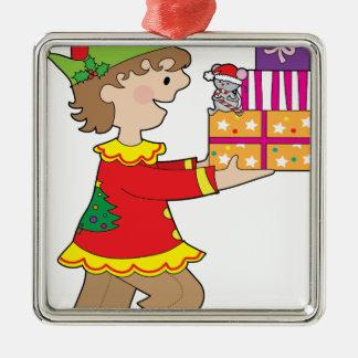 Duende con el presente adorno navideño cuadrado de metal
