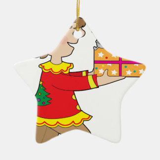 Duende con el presente adorno navideño de cerámica en forma de estrella