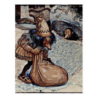 Duende con su mano en un bolso tarjetas postales