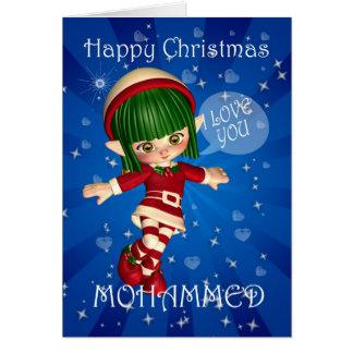 Duende de las felices Navidad que dice te amo Tarjeta De Felicitación