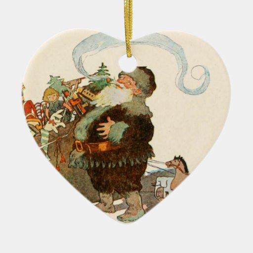 Duende de Santa del vintage con el tubo y el saco  Ornatos
