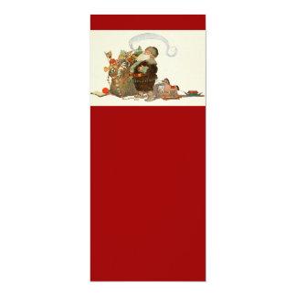 Duende de Santa del vintage con el tubo y el saco Invitación 10,1 X 23,5 Cm
