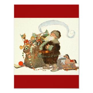 Duende de Santa del vintage con el tubo y el saco Invitación 10,8 X 13,9 Cm